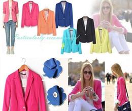 Wholesale Wholesale Ol Jacket - Women Suits Blazers Candy Color Button Blazers Jacket Coats OL Jacket Outwear Feminino Coat Suits Fashion Office Blazers Clothing Free Shipp