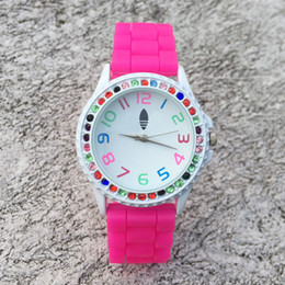 Wholesale Orange Left - Casual AD Clover Women's Girls 3 Leaves leaf Colorful crystal style dial Silicone band Analog Quartz watch AD15