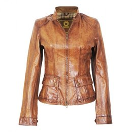 Wholesale Sexy Leather Jackets Fur - Women Leather jackets Concise slim leather jacket Stand collar double pockets below customerized for your sexy body