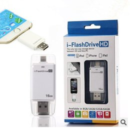 Wholesale I Ipad - i-Flash Driver Device HD U-dick Phone OTG Memory for iPhone 6 iPad for IOS Device 8G 16G 32G 64G