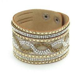 Wholesale Pave Charm Cheap - 015 New Fashion Charm Women Leather Bracelets Personality Printed Pave Setting Rhinestone Bracelets Jewelry Gold! Cheap jewelry beaded b...
