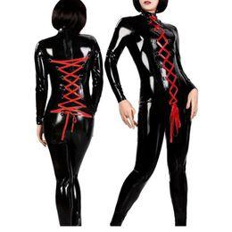 Wholesale Leather Playsuit - Wholesale-Hot Sale Black Women Two Way Zipper Jumpsuit Costume Black Vinly High Quality Catsuit Playsuit Leather W377824