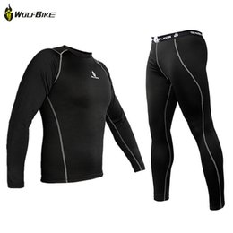 Wholesale Spandex Under Clothes - New Men Thermal Lycra Base Layer Sport Clothing Under Wear Cycling Bike Long Sleeve Underwear Winter Running Tights H2009