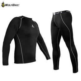 Wholesale Thermal Underwear Bike - New Men Thermal Lycra Base Layer Sport Clothing Under Wear Cycling Bike Long Sleeve Underwear Winter Running Tights H2009