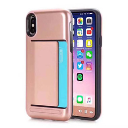 Wholesale Wholesale Pocket Protectors - For Iphone X V-erus Card Slot Case For Iphone 8 7 6 6s Plus Samsung Note8 S8 Plus Dual Layered Anti-Shock Protector Card Slot Wallet OPPBAG