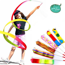 Wholesale Gymnastics Ribbon Dancing - 2017 4M Dance Ribbon Gym Art Gymnastic Rhythmic Ballet Streamer Twirling LONG Rod chl198-LB (Color: Multicolor)