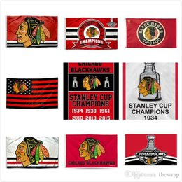 Wholesale Football Teams Flags - Chicago Blackhawks Hockey Flags 2017 Stanley Cup Champions Flag 3x5 ft Hockey Champions Team Flag Football Fan Banners 90x150CM