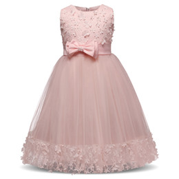 Wholesale Teen Knee Length Party Dresses - New Arrival Kids Girl Flower Petals Dress Teen Children Girl Bridesmaid Toddler Elegant Dress Vestido Infantil Formal Party Dress