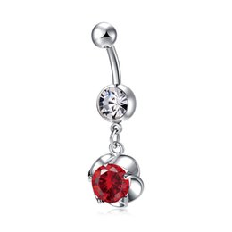 Wholesale disco ball rings - Crystal Disco Ball Belly Button Ring Flower Navel Belly Bar Double Ball Piercing Jewelry for Women P0296
