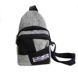 Wholesale Colour Backpack - Newly Chest Bag bosom bag linen Bag national backpack single-shoulder bag European and Amer style bag two colour joint Chest man bag 1pcs