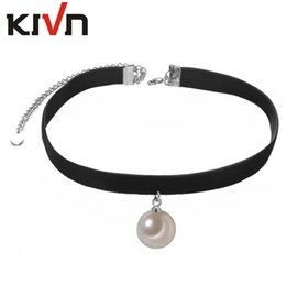 Wholesale Black Pearl Choker Necklace - KIVN Fashion Jewelry Black Retro Gothic Choker Collar Glass Pearl Necklaces for Women Girls Christmas Birthday Promotion Gifts