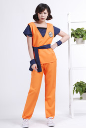 Wholesale Dragon Ball Z Costumes - Maxdream Anime Dragon Ball Z Son GoKu Cos Cosplay Costume Set Fancy Party Clothing Top + Pans + Belt + Bracer Free Shipping