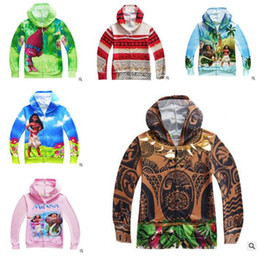 Wholesale Outwear Kids Jacket - Moana Sweatshirts Boys Clothing Jacket Kids Hoodies Girls Trolls Children Cartoon Long Sleeve Autumn Clothing Zipper Outwear Free Shipping