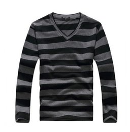 Wholesale Purple Stripe Sweater - Wholesale-MYTL New arrival 2016 men's long-sleeved cotton stripes sweater fashion and hot pullover men brand new of free shipping