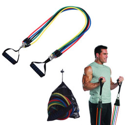 Wholesale fitness resistance tubes - Weight loss Body Fitness Equipment Latex Resistance Bands Workout Exercise Pilates Yoga Fitness Tubes Pull Rope 11 Pieces Set