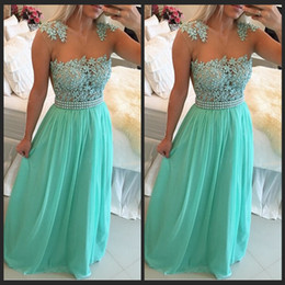 Wholesale Turquoise Sweetheart Graduation Dress - Cap Sleeve Chiffon Turquoise Blue Peals Prom Dresses 2016 Elegant Long Applique Cheap Formal Evening Gowns Modest Graduation Dresses