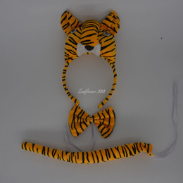 Wholesale Fun Bow - Fun Tiger Party Animal Cosplay Headband Ears Set Bow Tail Fancy Dress Costume For Kids Supplies Decor