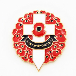Wholesale Wedding Souvenirs Wholesale China - Gold Plated Luxury Red Colored Enamelled UK Fashion Poppy Brooch The British Remembrance Days Poppy Brooch Souvenir High Quality Cross Pins