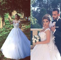 vestidos de noiva de designer árabe Desconto 2017 Querida Do Vintage Arábia Saudita Backless Inverno Vestidos de Casamento Designers Com Zíper de Volta Apliques de Frisado Sheer vestido de Baile Vestidos de Noiva