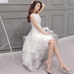 Wholesale Evening Dresses High Low Maxi - Summer Maxi Dress 2016 New Women O-Neck Sleeveless Cute Ball Gown White Organza High Low Evening Party Long Dress Plus Size