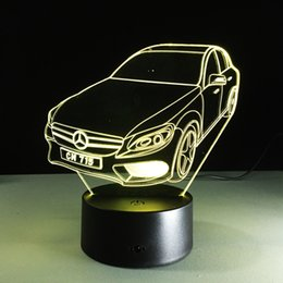 Wholesale Cool Optical - 2017 Cool Car Auto 3D Optical Illusion Lamp Night Light DC 5V USB Charging AA Battery Wholesale Dropshipping Free Shipping Retail Box