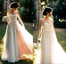 Wholesale C Gardens - 2017 Beach Vintage Lace Wedding Dresses Sheer Spaghetti A-line Chiffon Floor Length Simple Cheap Flowing Attractive Bridal Gowns c