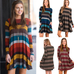Wholesale Womens Dresses Wholesalers - 10pcs Ladies Fashion Autumn Loose Striped Print A-Line Short Dress Womens Long Sleeved Fall Dresses