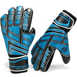 Gants de gardien de but de football en latex plein bleu main de gardien de taille de toutes tailles gardien de but de football de qualité nouvelle protection des doigts ? partir de fabricateur