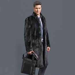 Wholesale black mink coats - Wholesale- 2016 new fashion Male  velvet mink overcoat outerwear Men black faux fur overcoat fur coat winter warm thicking outwear