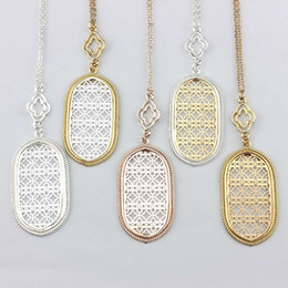 Wholesale Two Tone Charms - Christmas Gift Fashion Jewelry Filigree Oval Pendant Necklace for Women Long Chain Hollow Openwork Two Tone Geometric Necklaces Pendants