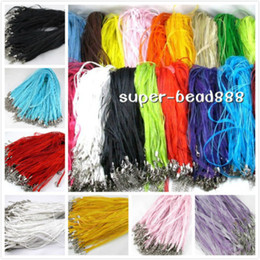 Wholesale Silk Ribbon Cord Necklace Wholesale - Free 100pcs Silk Organza Voile Ribbon Cord Necklace Adjustable Lobster Clasp HOT