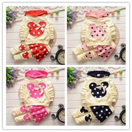 Wholesale Super Cute Coats - Children girls super Cute dot Mickey Mouse head bow hoodies+pantskirt baby kids Spring Autumn clothes 4 color
