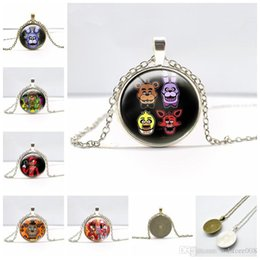 Wholesale Resin Cameos Wholesale - 5 Five Nights At Freddy Pendant Necklaces Vintage Antique Bronze Silver Round Cameo Cabochon Gemstone Necklace