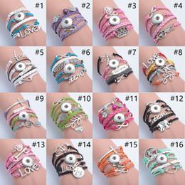 Wholesale Owls Infinity Bracelet - Mix 2016 New Snap Button Bracelet Handmade Multilayer Leather Rope Infinity Love Owl Cross Charm Bracelets Unisex DIY Jewelry pulseras Y2002