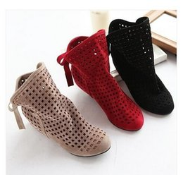 Wholesale Korean Shoes Boots - 2017 Fashion korean shoes beautiful Women's Summer Boots Flat Low Hidden Wedges Cutout Ankle Boots Casual Shoes