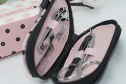 Wholesale Dot Flip Flop - Pink Polka Dot slipper style Nail Manicure Set Shower Favors Flip Flop Nail scissor Care Pedicure Set