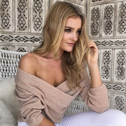 Wholesale Strapless Loose Tops - Women Sexy Casual Pullover Sweater Loose Knitted Top Pullovers Oversized The chest V cross collar sweater coat Strapless bottoming sweaters