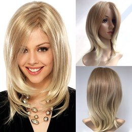 Wholesale Long Black Wigs For Women - Afro Hair Charming Long Blond Wig Simulation Brazilian Human Hair Straight Wigs Full Wigs For Black Women Y demand