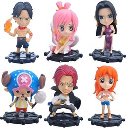 Wholesale Hot Toys Action - Hot ! NEW 6pcs set 9cm One piece ace Akakami no shankusu Nami action figure toy Christmas gift doll