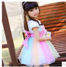 Wholesale Embroidered Tank Dress - Wholesale Girls New Flower Dresses Summer Princess Ball Gown Kids TUTU Tank Dress Clothing Free Shipping