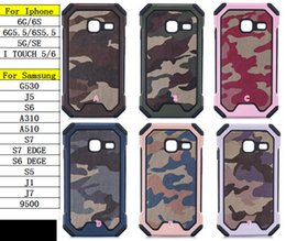 Wholesale Hard Case Bumper Black - Camouflage Military 2in1 Hybrid Layer Case For Galaxy S7 Edge S6 Edge J1 Mini J1 J7 Shockproof Hard PC Bumper Frame+Soft Silicone gel Skin