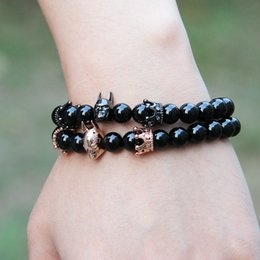 2019 joyería de moda romana Moda Roman Knight Crown Bracelet 8mm A Grade Black Onyx Stone Beads Fine Men Women Charms Jewelry rebajas joyería de moda romana