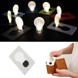 Wholesale Home Outdoor Led - Mini Pocket Lamp Portable Mini LED Foldable Card Light Pocket Lamp Put In Purse Wallet Flod Emergency Originality Slim Convenient Outdoor