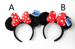 Wholesale Christmas Hair Bands Bows - Mickey Minnie Mouse Costume Ears Dots Bow Hair Band Party Headband Thanksgiving Christmas Halloween
