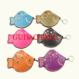 Wholesale Fish Gift Bags - Wholesale- Cute Small fish coin purse retro handmade key wallets features hanging Mini Storage bag Birthday Gift Female Womens Kids girls