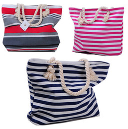 Wholesale Stripe Canvas Tote Beach Bags - Women Tote Bag,Canvas Bag,Rope Handle Foldable Shoulder Bag,Stripes beach shopping bag