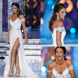 world dresses Promo Codes - White Miss World 2019 Pageant Evening Gowns Off the Shoulder White Full Length Beads Backless Sexy High Split Cheap Long Prom Party Dress