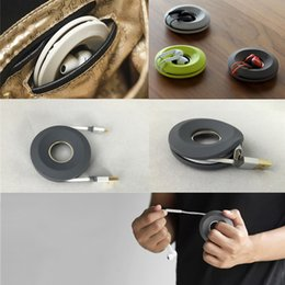 Wholesale Ear Gels - Creative Cute Donut Magnet Silica Gel Headphones Earphone Holder Cable Winder Cord Organizer Box Cord Wire Storage Case