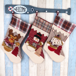Wholesale Reindeer Decor - 2017 HOT Christmas Stockings decor Ornaments decorations Santa Reindeer Snowman Christmas stocking candy socks Bags Christmas gifts bags