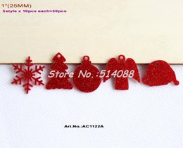 "Wholesale Santa Bead Cap - (5 styles, 10pcs each style) 25mm Red Glitter Assort Acrylic Beads Christmas Snowflakes   Tree Ball Angle Santa Cap 1""-AC1122A"